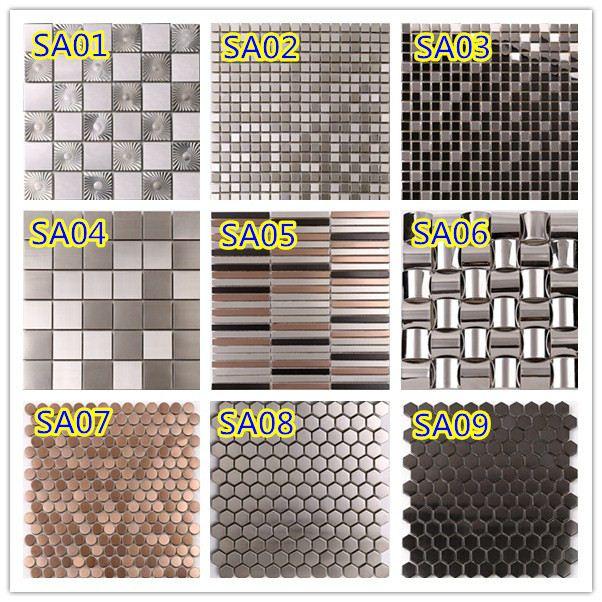 SA04 48*48 mosaicos de vidrio de patrón de azulejos mosaico de acero ...