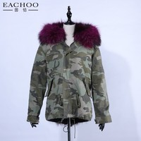 Korean style hooded camouflage parka with real fox fur lining