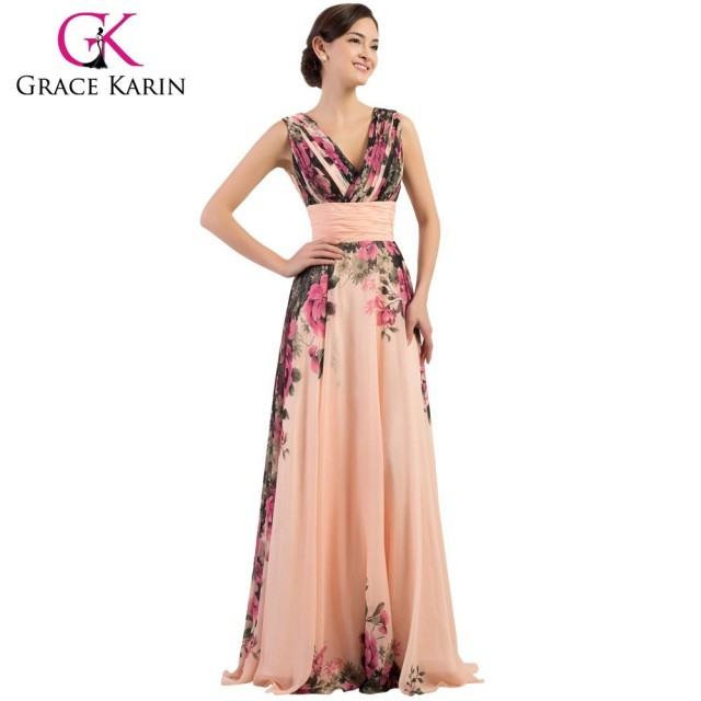 Grace Karin Deep V-Neck Flower Pattern Chiffon Long Floral Print Bridesmaid Dresses CL7502
