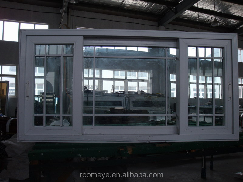 Client's Specification Large PVC Sliding Window with Double Glazing Tempered Glass and Grill