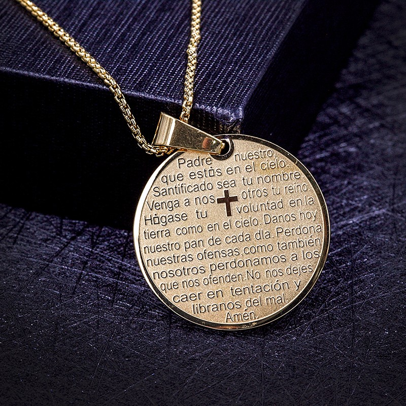 High Quality Religious Jewelry Gold Medals Souvenirs Engraved Bible Scriptures