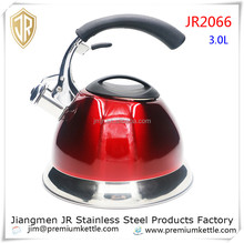Stylish red stainless steel non-electric tea kettle / water kettle