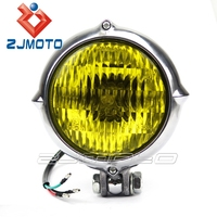 Polish with Yellow Glass Head Light Custom Motorcycle H4 Classic Round Headlight Front Lamps For Chopper