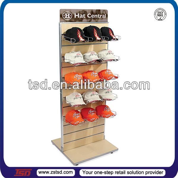 TSD-W127 shop retail double sided slatwall hat display rack for retail store/hat and scarf displays/display stands hat