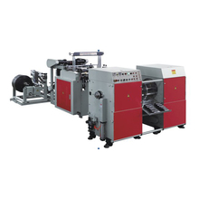 Automatic plastic bag making machine with two lines for bag on roll without paper core