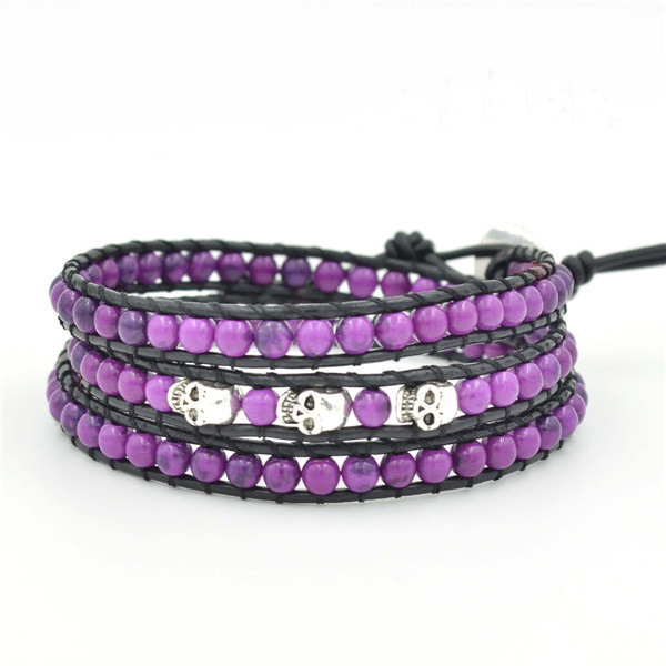 Fashion jewelry 3 line matt purple round crystal stone beaded leather bracelet with skull accessories