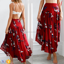 Latest 2018 Fashion Ladies Long Skirts Wine Maxi Skirt For Lady