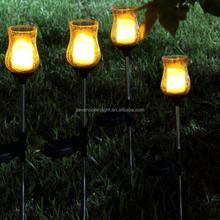 SCL0430 Solar glass candle holder garden stick lights