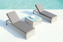White Outdoor Rattan Furniture Sun Resist Wicker Lounge