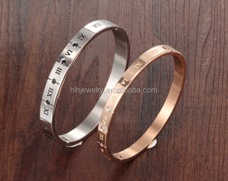 Handmade fashion couple bracelet roman numeral capitals with black diamond stainless steel 316 bracelet