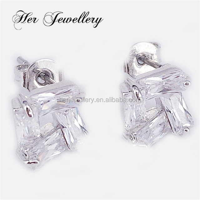 Her Jewellery guangzhou wholesale crystal women stud earrings charm earrings 18K gold planted big square earings