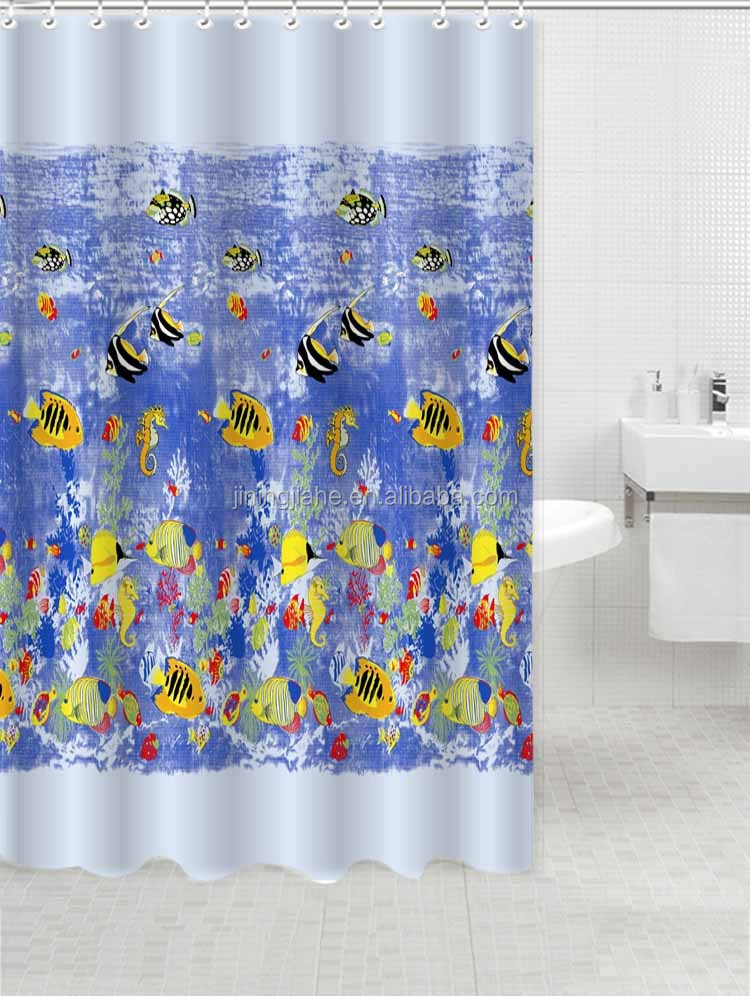 the Sea World fish polyester shower curtain, bath curtain for hotel