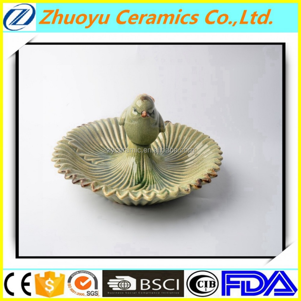 Creative Ceramic Ring Dish with Small Bird for Fruit