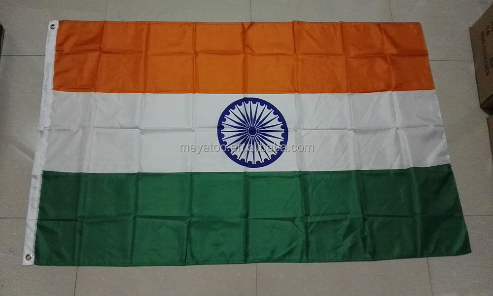 Standard plain full screen polyester India national day celebration custom Flag