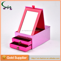 Custom design rectangle-shaped mirror paper drawer jewellery boxes wholesale