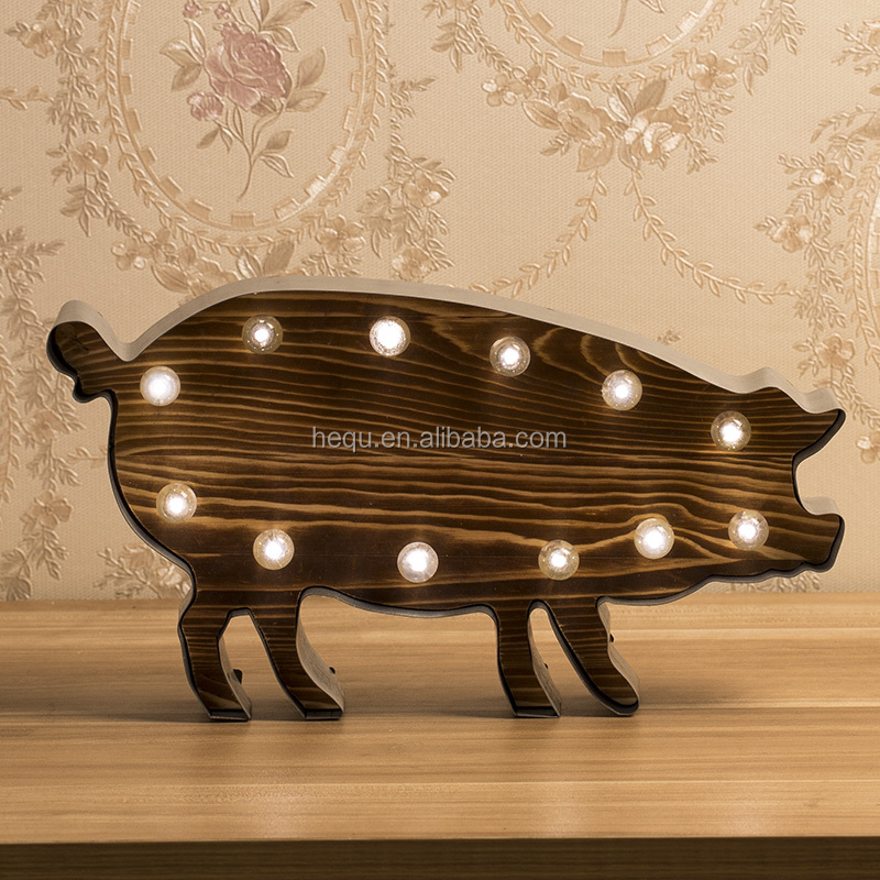 Metal And Wood Home Decoration Battery Operated Marquee Led Light