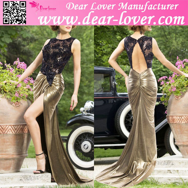 Sheer Lace Top Luxe Gold long floor maxi evening party dress