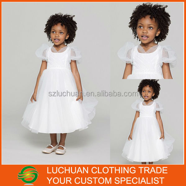 Quality White Organza Short Sleeve Beaded New Style Kids Wedding Dress