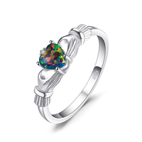 JewelryPalace Black Fire Opal Multicolor Irish Rainbow Ring Solid 925 Sterling Silver Love Heart Gemstone Jewelry