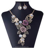Hot sale flower necklace set heavy fashion necklace for 2015