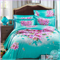 Cheap colourful customized 3d flower printed polyester/cotton fabrics for duvet covers/bedding sets to korea wholesale