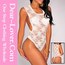 ladies underwear Brown Floral Lace Open Sides Bodysuit chinese style mature women sexy lingerie
