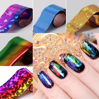Amazon Hot Selling Lazer Effect Nail Art Wraps Glitter Sticker Nail Transfer Foil Sticker For Nail Decoration