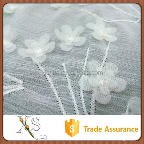 Dress Fabric Chiffon Flower Embroidery Fabric