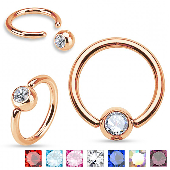 Rose Gold PVD CBR BCR Crystal Gem Ball Closure Captive Bead Ring