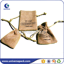 Wholesale custom eco mini jute bag with drawstring for gift