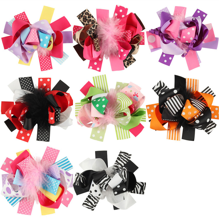 Kids Girls Feather Hair Clip Ribbon Bows Barrette Accessories for Girls Hair Bow Ornaments
