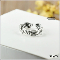 Genuine 925 Sterling Silver Thumb / Finger / Woven Rope Ring MENS / LADIES SIL465
