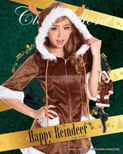 Sexy Adult Cosplay Dress Santa Clause Velvet Female Christmas costume