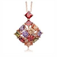 Colorful zircon necklace brazilian gold jewelry