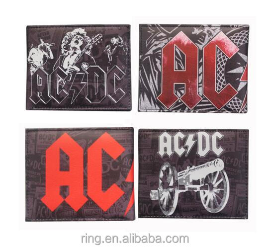 Hot Australia Rock Band ACDC Letters Logo Short Wallets Colored Leather Men Wallets Wholesale