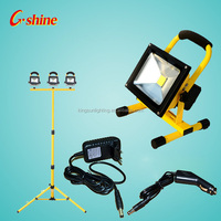 Portable outdoor 10w 20w 30w 50w emergency rechargeable led flood light for building