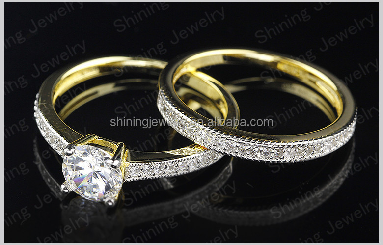 hot selling 14k gold plated wedding diamond rings couple ring