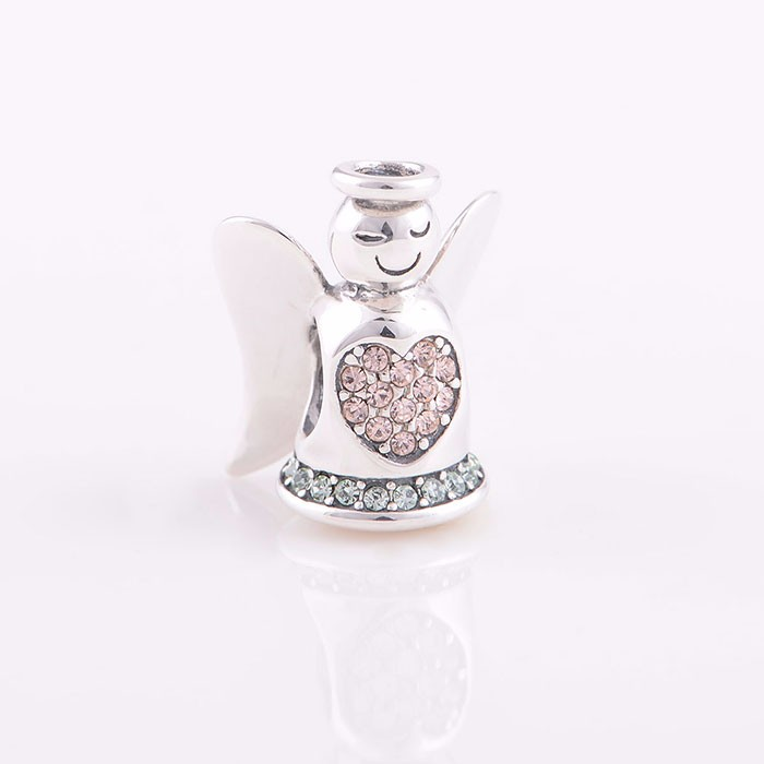 Kind-hearted Angel With Pink Zircon Stones Silver Beads Custom Silver Beads Wholesale Silver CZ Pave Beads