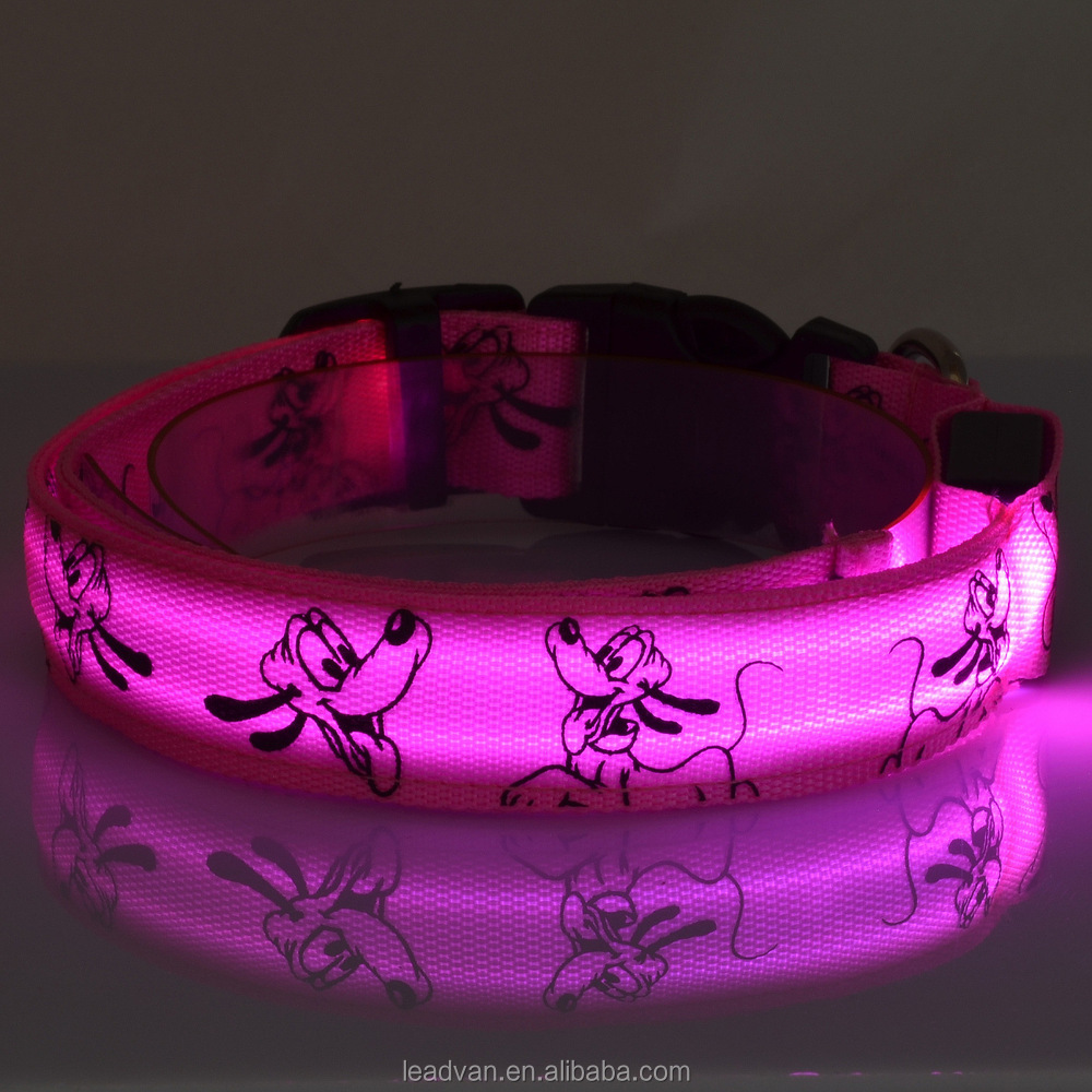 Pink Light Pet Shop Supplies Pug Pattern Retracable LED Dog Training Collar