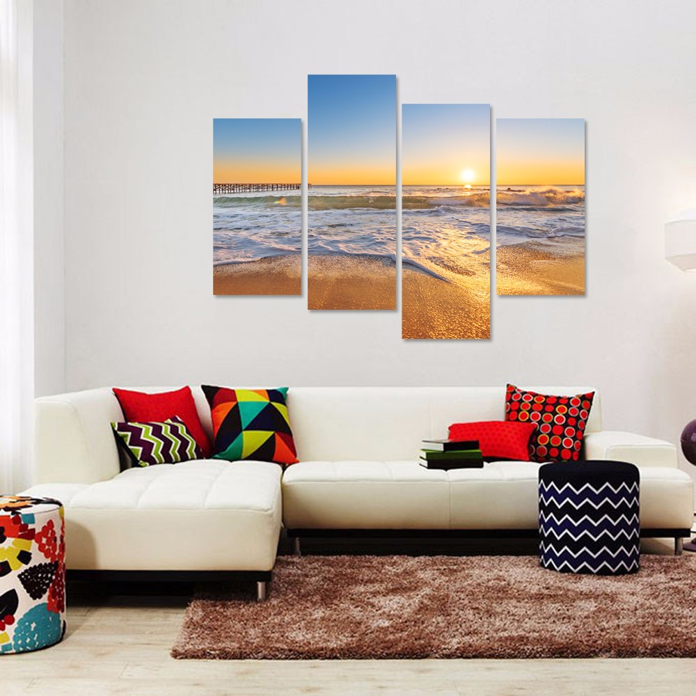 Coastal Landscape Canvas Print/Beach Sunset Art Decoration Wall/Ocean Waves Oil Painting Print