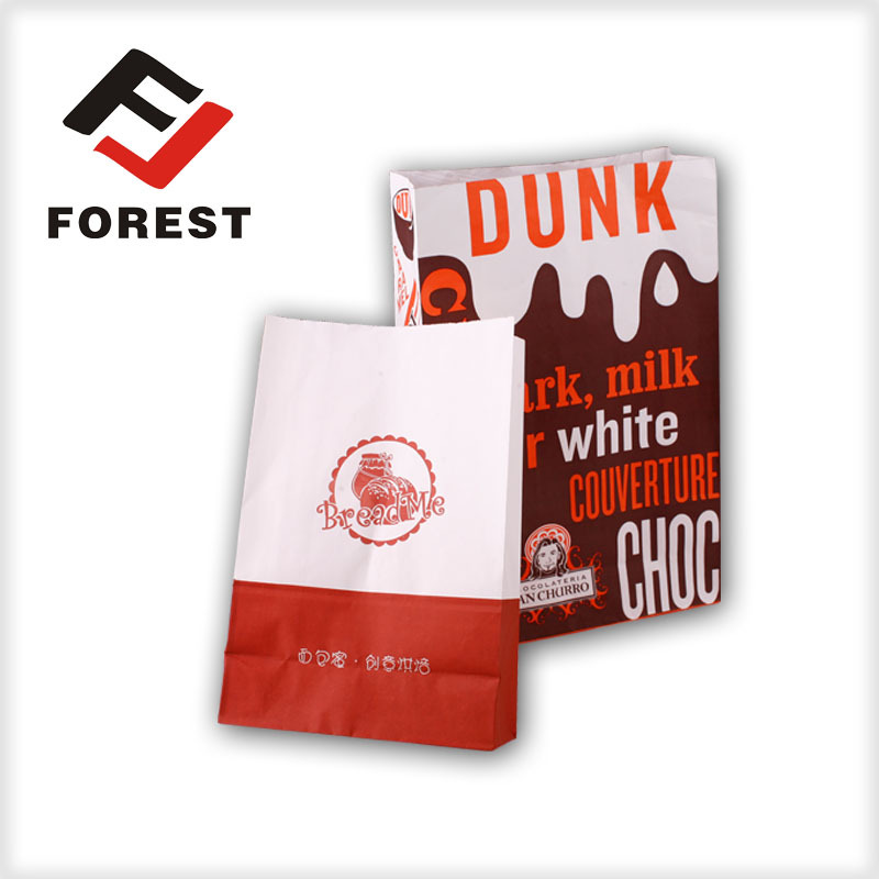 paper food bag Heat sealed brown kraft paper bag for food/flat customized kraft paper food bag