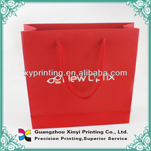 China supplier matte laminated red colour silver hot stamping fodable printed paper shopping bag with company logo