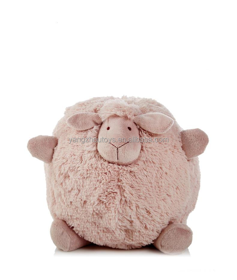 new design ball shape fat plush pink sheep toy with round body