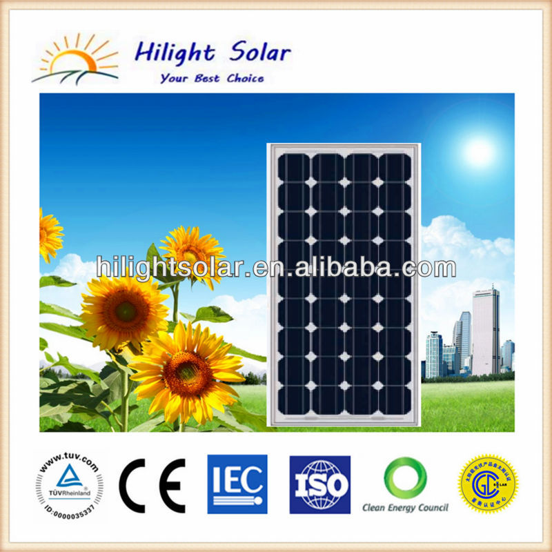 High-quality and low-price monocrystalline 135W panel solar/solar panel with TUV, IEC, CEC, CE
