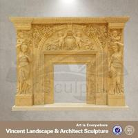 sandstone marble electric fireplace