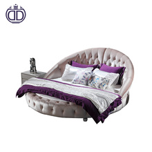 Luxury romantic style round king fashion round bed prices soft leather king size round bed