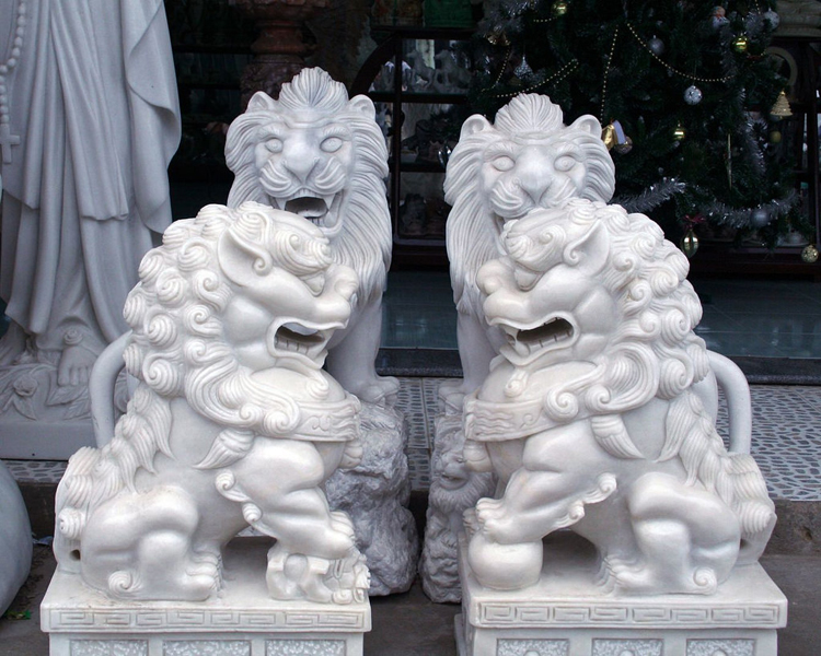 outdoor traditional lion statue stone vietnam marble sculptures