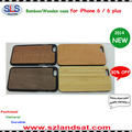 2016 hot sale pc and real bamboo wood cover case for iphone 6 wooden cases IPC363