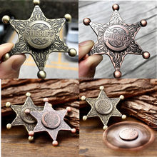 Wholesale Sheriff Badge Metal Gyro Fidget Hand Spinner EDC ADHD Autism Focus Toy Finger Spinner