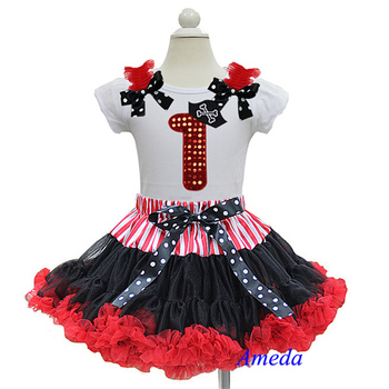 Pirate Black Red Pettiskirt with Bling Red 1st Birthday White Short Sleeves Top 1-7Y